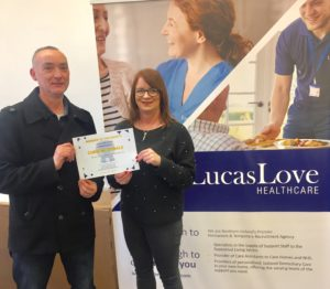 Lucas Love Member of the Month for January 2020 Chris McDonald with Cherith Coulter, Lucas Love Associates Coordinator