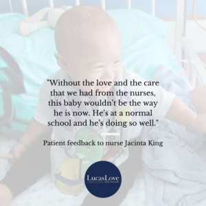 """Without the love and care from the nurses this baby wouldn't be doing so well"""