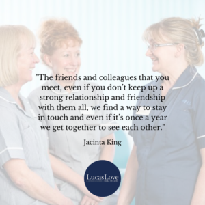 Friends and colleagues stay in touch - Jacinta King